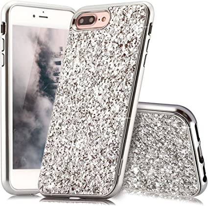 Coque iPhone 8 Plus Argent Coque Slynmax Silicone Paillette Strass Brillante Bling Glitter de Luxe Bumper Housse Etui de Protection [Fin] [Anti Choc] ...