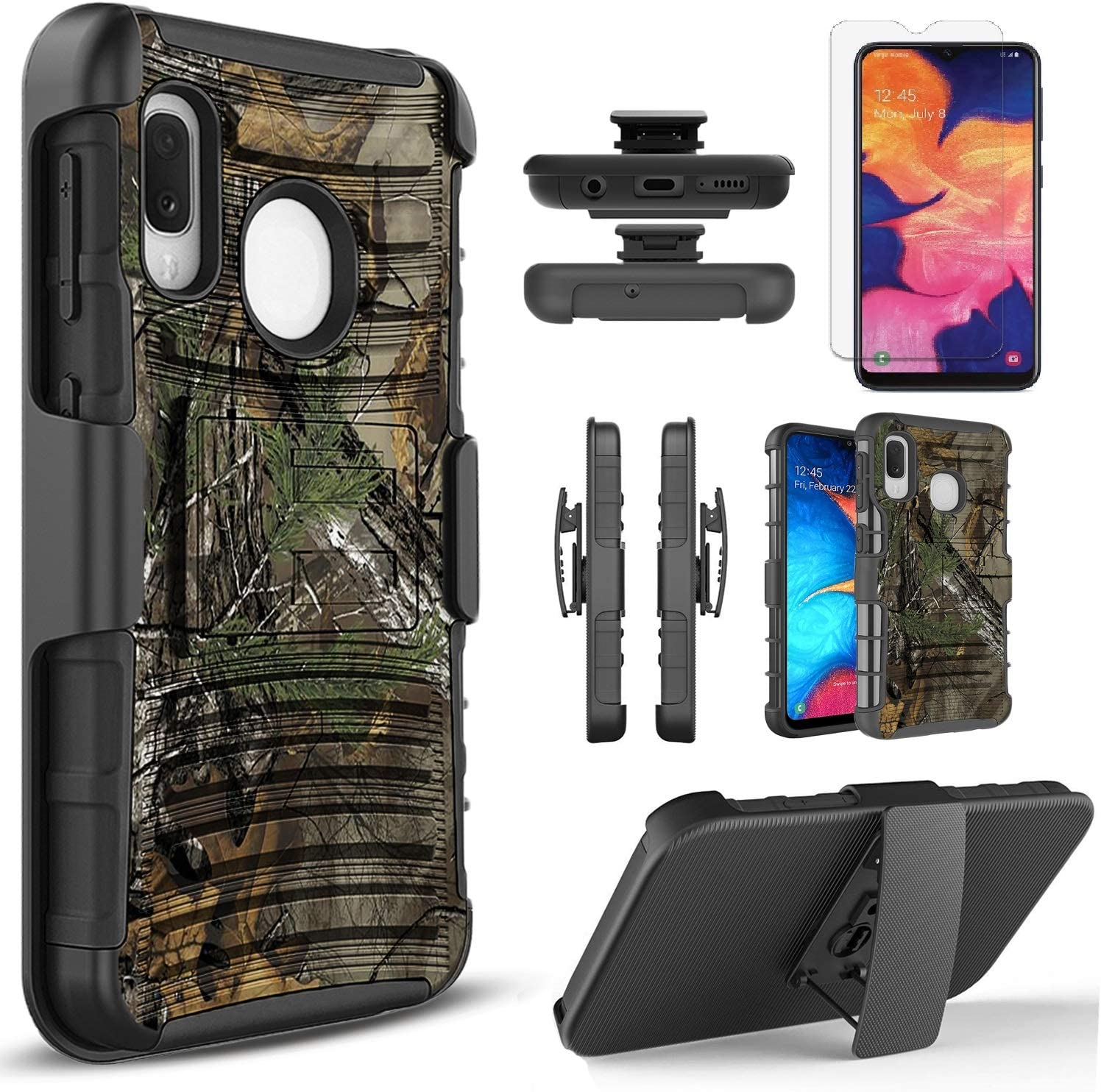 Circlemalls Compatible For Moto E6 Phone Case, [Not Fit Moto E6S/E6 Play] With [Tempered Glass Screen Protector Included], Armor Heavy Duty Kickstand Cover With Belt Clip Holster - Camo