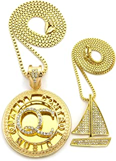 Stone Stud Sailboat & Initials QC Pendant Set w/Box Chain Necklaces, Gold-Tone