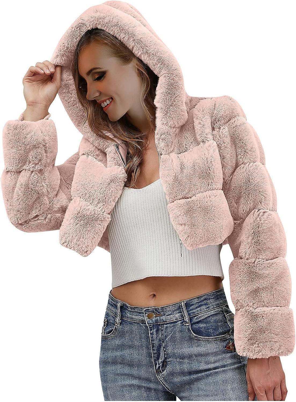 Winter Coats for Women Fleece Coat Solid Color Furry-Faux Jacket
