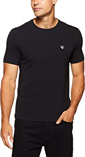 EA7 Emporio Armani Men's Plain Stretch T-Shirt with Stitched Logo