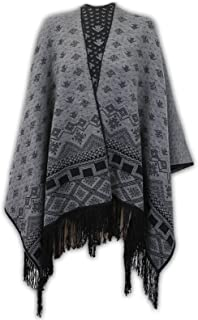 Ladies Diamond Print Knitted Cardigan Reversible Poncho Aztec Womens Cape