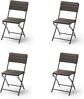 KG KitGarden - Pack de 4 Sillas Plegables Imitación Madera, Marrón, Wood