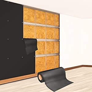 Soundproofing Material Mass Loaded Vinyl 1.1 Lb Soundproofing Wall Soundproof Floor Outdoor Sound Barrier MLV with Acoustic Noise Barrier for Sound Proof Door Ceiling Cars (1.1 Lb 100 Sq. Ft)