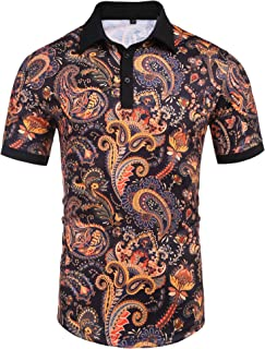 Daupanzees Men's Paisley Casual Short Sleeve Floral Print Jersey Polo Shirt