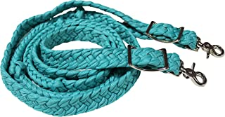 PRORIDER Horse Braided Poly Nylon Roping Western Barrel Reins Tack Turquoise 60753