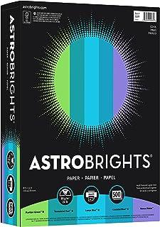 """Astrobrights Color Paper, 8.5"""" x 11"""", 24 lb/ 89 gsm,""""Cool"""" 5-Color Assortment, 500 Sheets(20274)"""