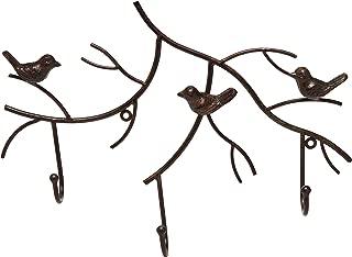 MyGift Wall Mounted Rustic Bronze Decorative Metal Tree Branch Design 3 Coat Hooks Storage Hanger Rack