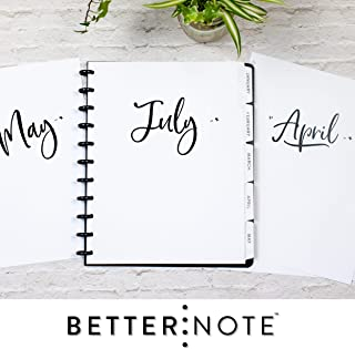 BetterNote July 2019- June 2020 Monthly Calendar Tabbed Dividers Fits 11-Disc, Levenger Circa, Arc by Staples, TUL by Office Depot, Letter Size 8.5