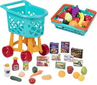 Battat - Toy Shopping Cart with Basket, Pretend Play Food, & 2 Cutting Boards for Kids 3 Years + (60Pc)