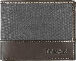 Men's Baseline Leather Canvas Wallet with Attached Flip Pocket