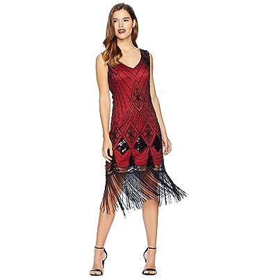 Unique Vintage Sequin Lina Fringe Flapper Dress (Red/Black) Women