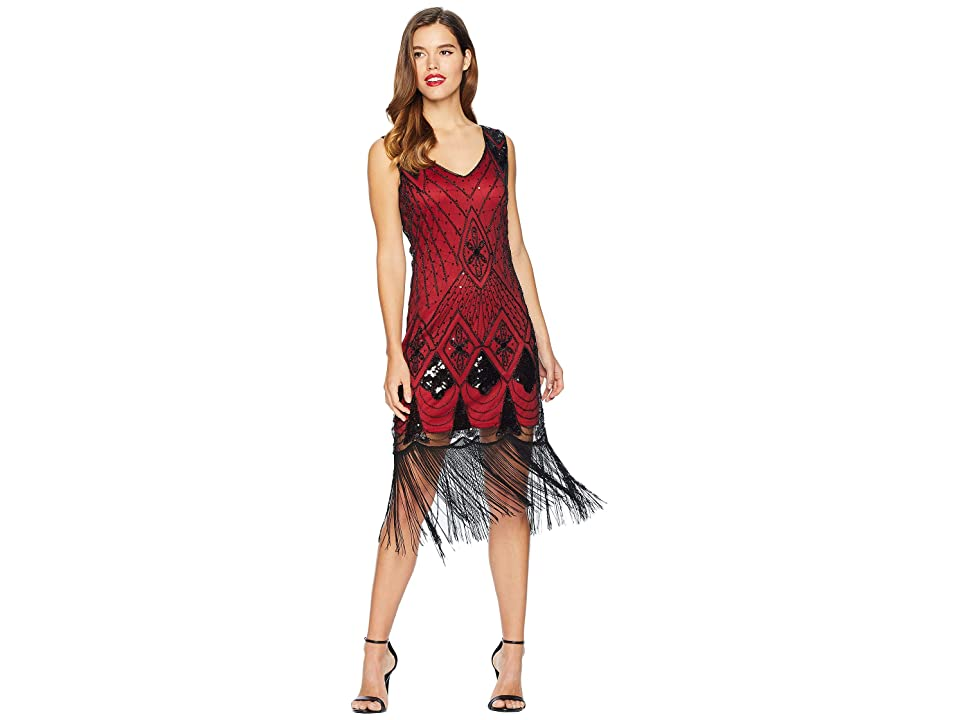 Unique Vintage Sequin Lina Fringe Flapper Dress (Red/Black) Women