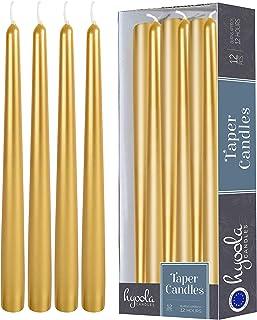 Hyoola 12 Velas de Metal Alto – 35,6 cm Dorado Pintado metálico, sin Goteo, sin Aroma, Vela de Cena – Cera de parafina con mechas de algodón