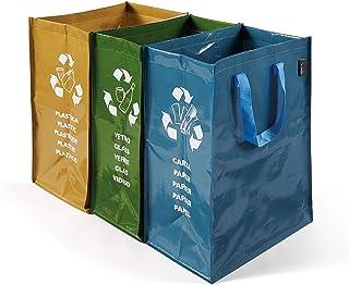 Perfetto conteneur de recyclage, à 3 compartiments, 22 + 26 + 20 x 35 x 49 cm