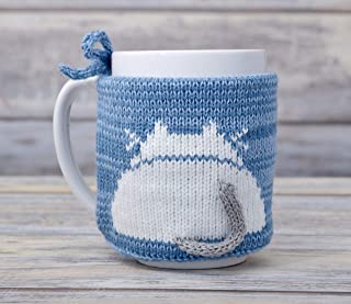 Cat Lover Tea Cup Cozy Light Blue Teacup Sweater Cosy Warmer Knit Gift Kitty Coffee Sleeve White Kitten