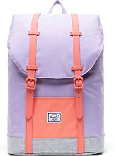 Retreat Youth Kid's Backpack, Lavender Light Grey Crosshatch/Fresh Salmon, One Size