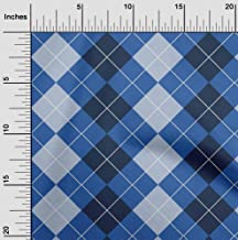 oneOone Viscose Chiffon Blue Fabric Argyle Check DIY Clothing Quilting Fabric Print Fabric by Meter 42 Inch Wide
