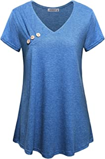 MOQIVGI Womens Short Sleeve Vneck Button Trim Pleated Casual Tunic Shirts