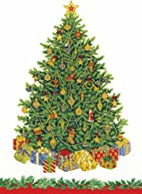 Entertaining with Caspari Christmas Tree Guest Towels, Ivory, Pack of 15