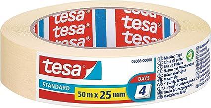 tesa TE05086-00000-02 Cinta de Pintor Standard para Perfiles Rectos, amarillo, 50mx25mm