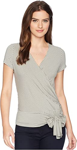 Cap Sleeve Stripe Faux Wrap Tie Waist Top