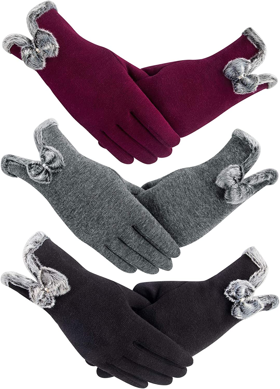YSense 3 Pairs Warm Touch Screen Gloves, Women Winter Gloves Fleece Lined Windproof Gloves for Women Gifts Stocking Stuffers