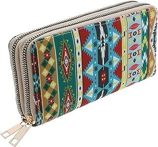 Double Zipper Long Clutch Aztec Fabric Tribal Print Wallet (Tan)
