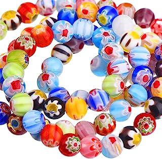 Sumind 200 Pezzi Perline in Vetro Millefiori Rotondo Perline Colorate Cristalli di Vetro con Fiore Singolo per Fabricazion...