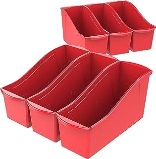 Storex Large Book Bin, 14.3 x 5.3 x 7 Inches, Red, Case of 6 (71116U06C)