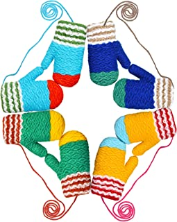 4 Pairs Kids Knitted Mitten Winter Warm Gloves with String for Boys