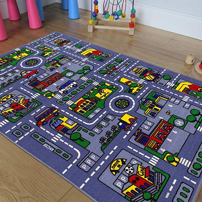 Kids Baby Room Daycare Classroom Playroom Area Rug City Roads Map Train Tracks Cars Play Mat Fun Educational Non Slip Gel Back 3 Feet X 5 Feet
