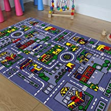 Kids / Baby Room / Daycare / Classroom / Playroom Area Rug. City. Roads. Map. Train Tracks. Cars. Play Mat. Fun. Educational. Non-Slip Gel Back. Bright Colorful Vibrant Colors (5 Feet X 7 Feet)