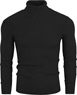 Sponsored Ad - VILOVE Mens Turtleneck Knitted Ribbed Slim Fit Pullover Thermal Sweater