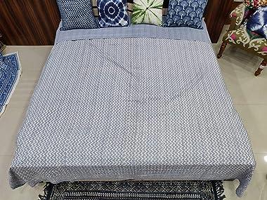 Traditional Jaipur ZicZac Print Cotton Kantha Work Quilt Jaipuri Razai, Couple Use King Size Blanket Bedroom Bedspread Quilt