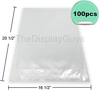 """The Display Guys, 100 Pcs 16 1/2""""x 20 1/2"""" Clear Self Adhesive Plastic Bags for 16""""x20"""" Picture Photo Framing Mats"""