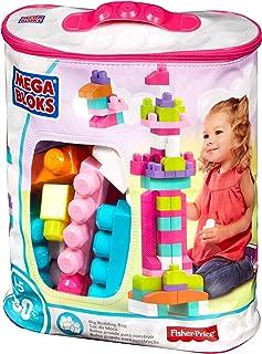 Mega Bloks First Builders Big Building Bag with Big Building Blocks, Building Toys for Toddlers (80 Pieces), Pink DCH62