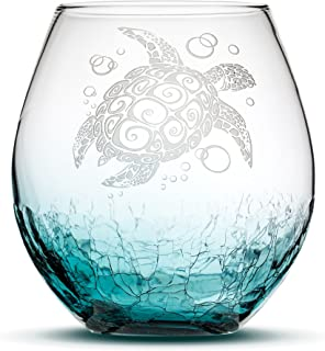 Sand Carved Stemless Wine Glass, Sea Turtle, Crackle Teal, Handblown, Tribal Honu Design, Etched Gifts by Integrity Bottles (Crackle Teal Turtle)