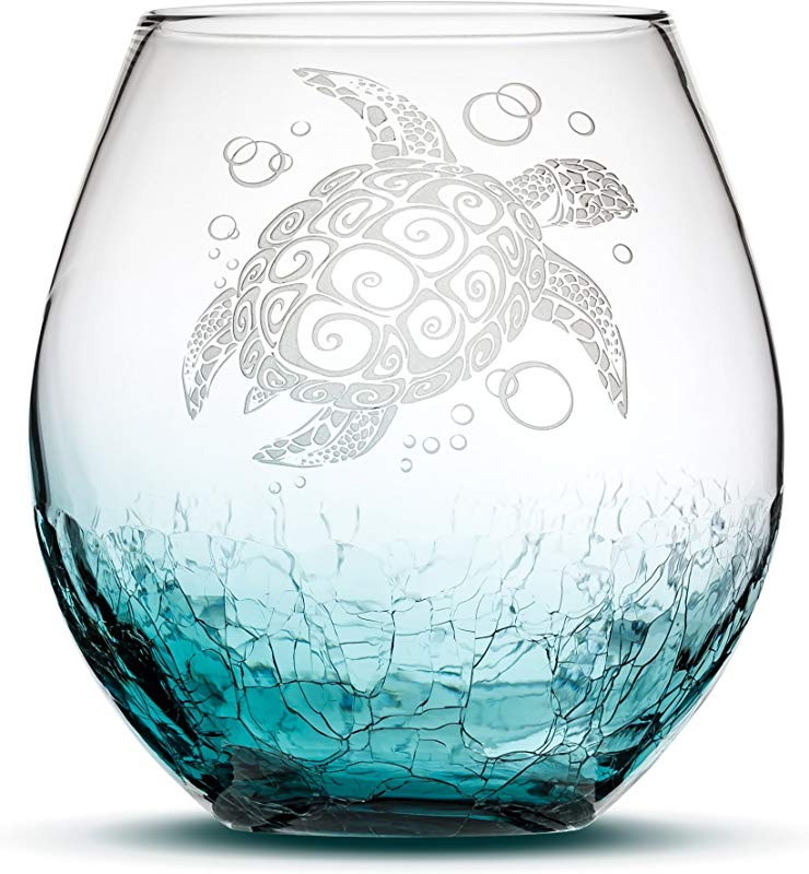 Sand Carved Stemless Wine Glass Sea Turtle Crackle Teal Handblown Tribal Honu Design Etched Gifts By Integrity Bottles Crackle Teal Turtle