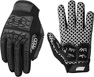 Seibertron Lineman 2.0 Padded Palm Football Receiver Gloves, Flexible TPR Impact Protection Back of Hand Glove Adult and Youth Sizes