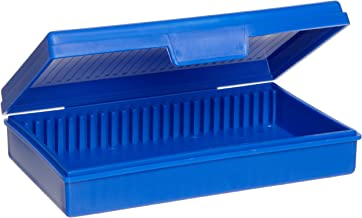Heathrow Scientific HD15990A Blue Polypropylene 25 Place Economy Microscope Slide Box, 141mm Length x 92mm Width x 36mm Height