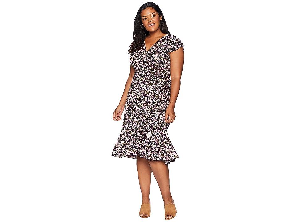 Kiyonna Phoebe Flounce Wrap Dress (Mixed Peony Print) Women