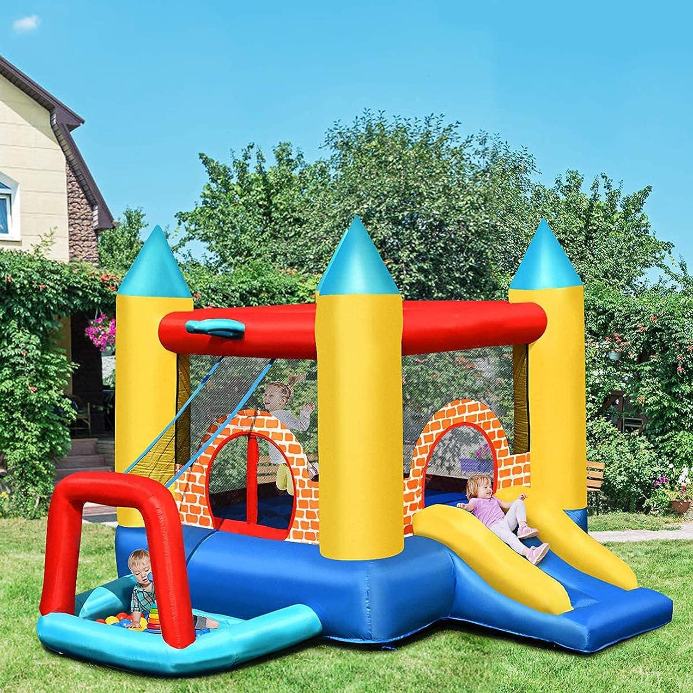 ZCYXQR Castillo Hinchable con tobogán y Zona de Juegos con Piscina para 3 niños de 3 a 10 años en Tejido Oxford y (Outdoor Entertainment)