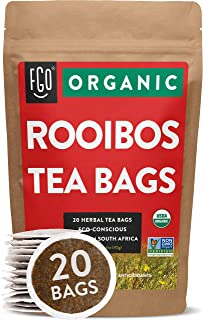 Organic Rooibos Tea Bags | 20 Tea Bags | Eco-Conscious Tea Bags in Kraft Bag | Raw from South Africa | by FGO