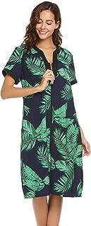 Women Short Sleeve Robes Sleepwear Cotton Lightweight Long Robe V-Neck Floral Front Zipper Nightgown Duster
