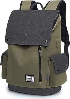 WindTook Canvas Backpack Daypack 15 Zoll Laptop Rucksack Schulrucksack Tagesrucksack mit USB Anschluss für Uni Büro Alltag Freizeit, Dunkelgrün