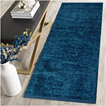 zeff Furnishing Polyester Soft Indoor Modern Shag Area Rug Carpet with Feather Touch for Dining Room, Home Bedroom (Blue, 22x55 inch)