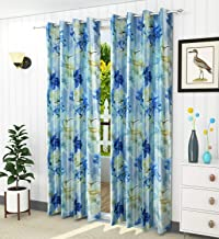 LaVichitra Floral Print Eyelet Polyester 7 ft Door Curtain, Blue
