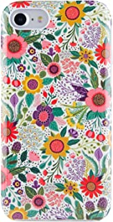 iPhone 7 Case for Girls, Dimaka Retro Stylish [Floral Pattern] [High Impact] Shock Proof Hybrid TPU Bumper Cushion and Hard Glitter PC for iPhone 7 and iPhone 8 (Bush Flower)