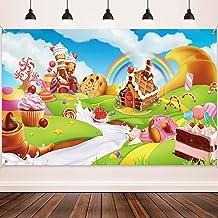 Materiales de Decoración de Fiesta de Tierra de Dulces, Fondo de Dibujo Animado Dulce Tela Extra Grande para Fiesta de Bienvenida a Bebé Cumpleaños, Fondo Fotográfico de Bebé de Arcoiris